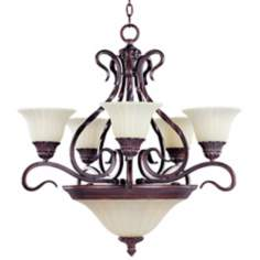 Via Roma Greek Bronze 7-Light Chandelier