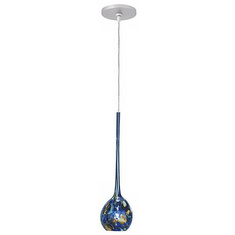 "LBL Madeleine 3 1/4"" Wide Blue Glass Monopoint Mini Pendant"