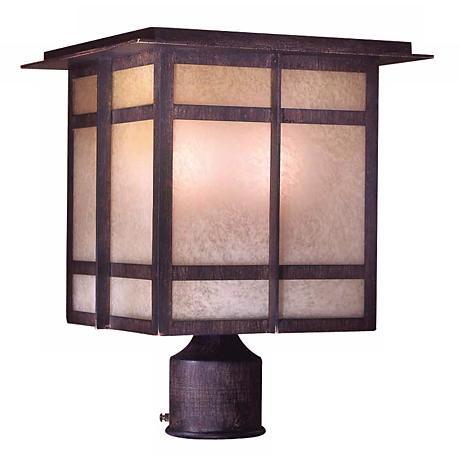 "Delancy 13 3/4"" High Iron Oxide Outdoor Post Light"