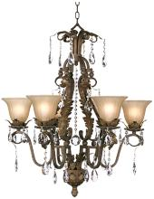 "Iron Leaf 29"" Wide Roman Bronze and Crystal Chandelier"
