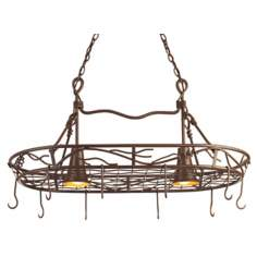 Hand-Twisted Vine Pot Rack Chandelier