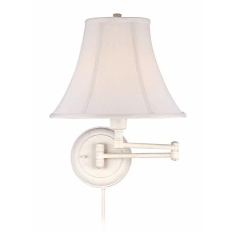 Lite Source Charleston White Plug-In Swing Arm Wall Lamp