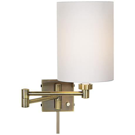 Plug In Wall Lamp With Cord Cover : White Drum Cylinder Antique Brass Swing Arm with Cord Cover - #37857-00107-U2363 www.lampsplus.com