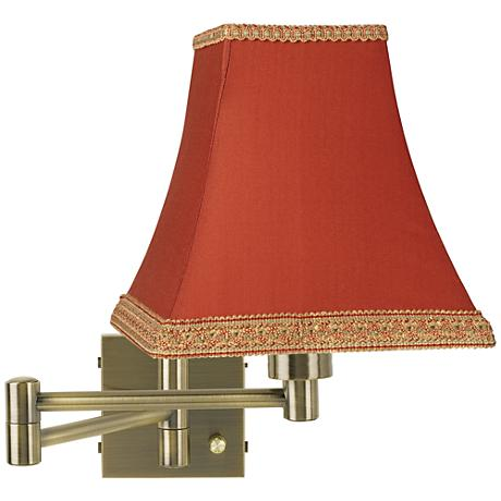 Antique Brass Rust Shade Swing Arm Plug-In Wall Lamp - #37857-24861 www.lampsplus.com