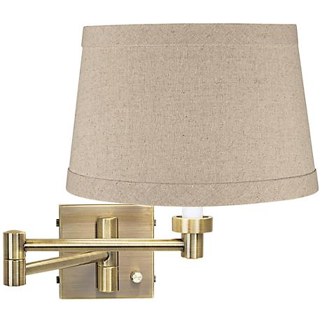 Natural Linen Drum Shade Brass Plug-In Swing Arm Wall Lamp