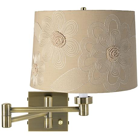 Tan Flower Shade Antique Brass Plug-In Swing Arm Wall Light