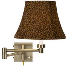 Leopard Shade Antique Brass Plug-In Swing Arm Wall Lamp
