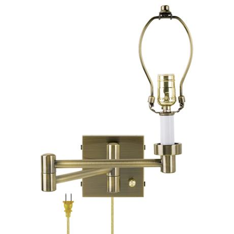 antique brass plug in swing arm wall lamp base. Black Bedroom Furniture Sets. Home Design Ideas