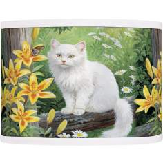 Cat and Butterfly Giclee Lamp Shade 13.5x13.5x10 (Spider)