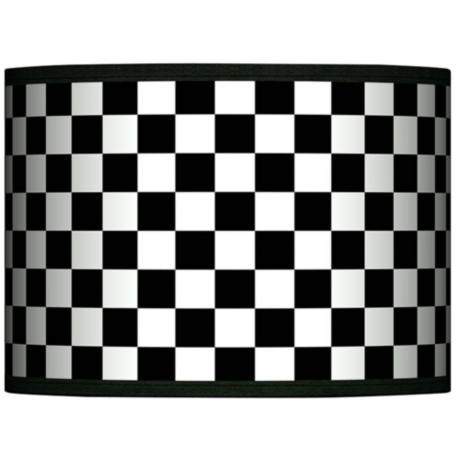 Checkered Black Giclee Glow Lamp Shade 13.5x13.5x10 (Spider)