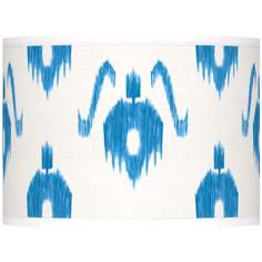 Blue Ikat Pattern Giclee Lamp Shade 13.5x13.5x10 (Spider)