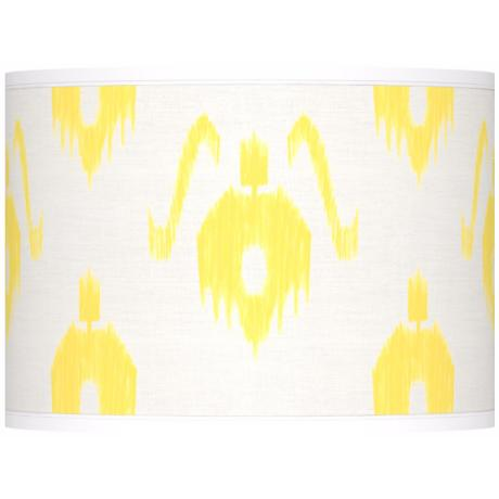 Yellow Ikat Pattern Giclee Lamp Shade 13.5x13.5x10 (Spider)