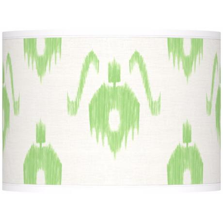 Green Ikat Pattern Giclee Lamp Shade 13.5x13.5x10 (Spider)