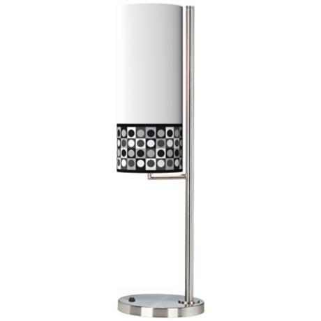 Black and Grey Dotted Squares Banner Giclee Table Lamp