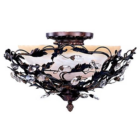 "Vine and Crystal Droplets 16 1/2"" Wide Ceiling Light Fixture"