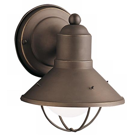 "Kichler 7 1/2"" Rustic Solid Aluminum High Outdoor Wall Light"