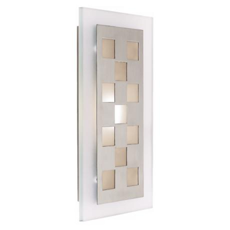 Zeus Brushed Steel Checkered ADA Compliant Sconce