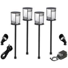 Geoff 8-Piece Black Complete Outdoor LED Landscape Lighting Set
