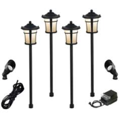 Pierce 8-Piece Black Complete Outdoor LED Landscape Lighting Set