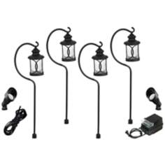 Troy 8-Piece Black Outdoor LED Landscape Lighting Set