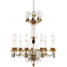 Schonbek Topaz Crystal Nine Light Chandelier