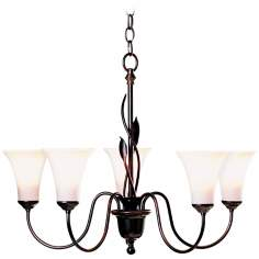 Hubbardton Forge Forged Leaves 5-Light Chandelier