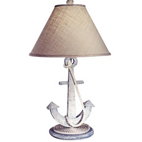 Weathered Anchor Nautical Table Lamp