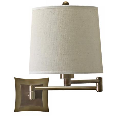 Brass Finish Bi-Level Backplate Plug-In Swing Arm Wall Lamp