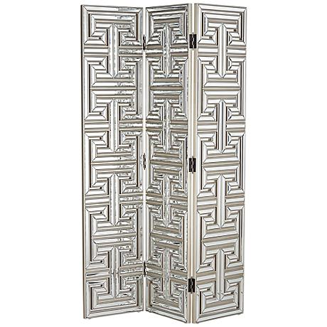 Mirrored Art Deco 3-Panel Room Divider Screen