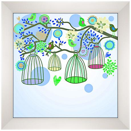 "Bird Cages Giclee 13 1/2"" Square Contemporary Wall Art"