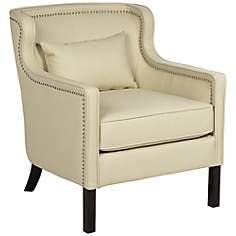 Larue Cream Bonded Leather Accent Chair