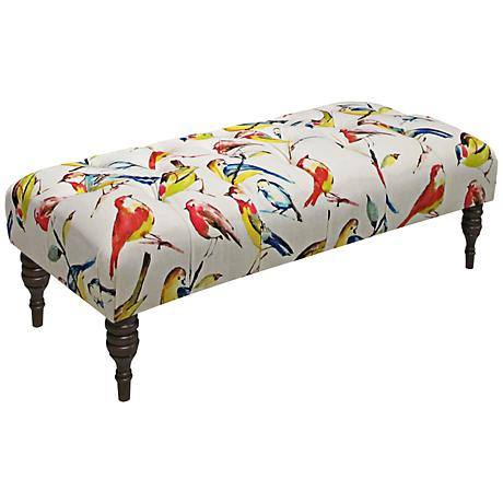 Bird Watcher Summer Upholstered Tufted Bench
