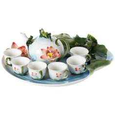 Frog and Flower 8-Piece Fine Bone Porcelain Tea Set
