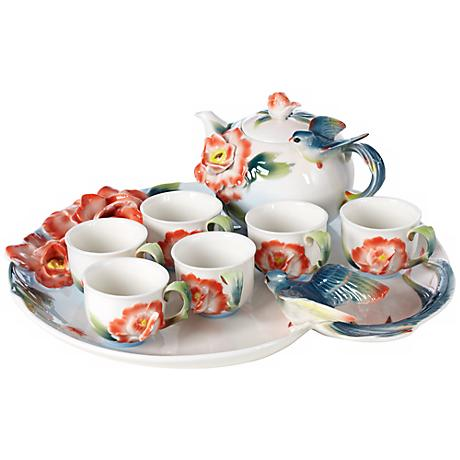 Swallow and Flower 8-Piece Fine Bone Porcelain Tea Set