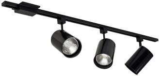 Nora Black Flat Back Cylinder 3-Light Track Kit (3D445)