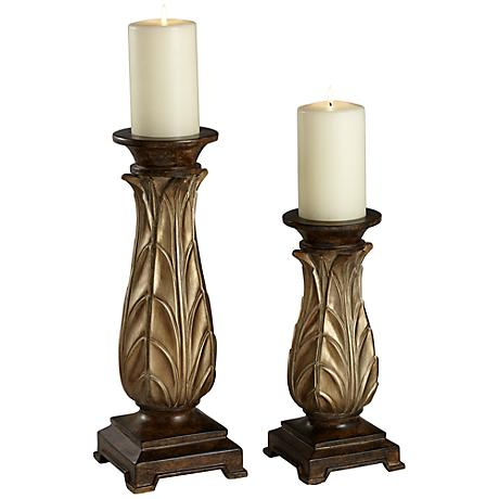 Versailles Regency Gold Pillar Candle Holder Set of 2
