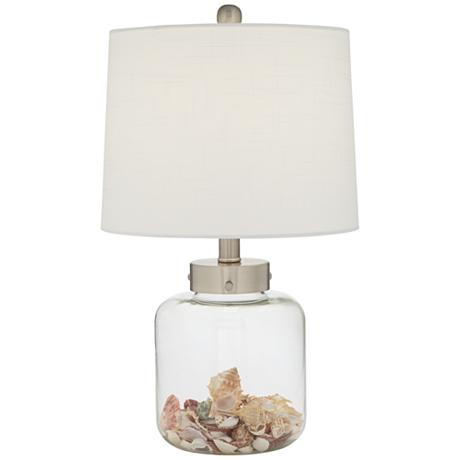 fillable glass accent lamp comes with shells as shown on off switch. Black Bedroom Furniture Sets. Home Design Ideas