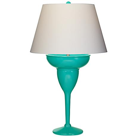 Novelty Lamp Base : Turquoise Curacao Margarita Glass Novelty Table Lamp - #3D707 www.lampsplus.com