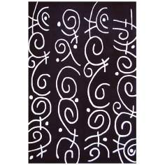 Festival FHF2375 Black with White Area Rug