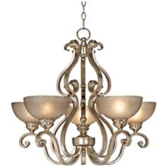 "Iron Scroll Silver Leaf 28"" Wide Speckled Glass Chandelier"