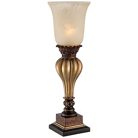 Sattley Gold Console Lamp with Alabaster Glass