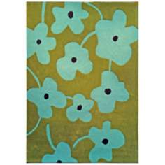 Festival FHT2599 Green and Blue Floral Area Rug