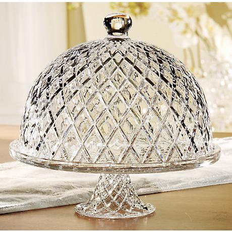 "Muirfield Glass 12"" Wide Cake Stand with Dome"