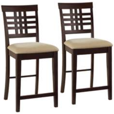 Set of 2 Tiburon Swivel Counter Stools