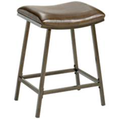 Hillsdale Saddle Adjustable Copper and Brown Bar Stool