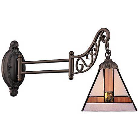 Mission Bronze Tiffany Style Swing Arm Wall Lamp