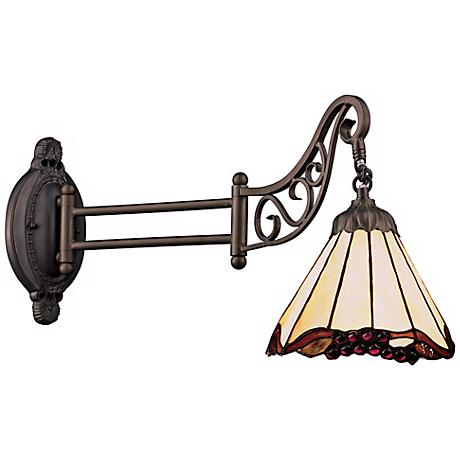 Scalloped Bronze Tiffany Style Swing Arm Wall Lamp