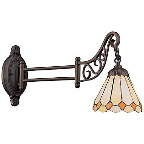 Warm Gem Bronze Tiffany Style Swing Arm Wall Lamp
