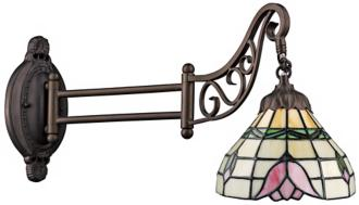Rose Bronze Tiffany Style Swing Arm Wall Lamp (3F441) Home Coupons