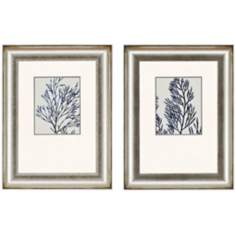 "Set of 2 Indigo Coral I 25"" High Framed Wall Art"